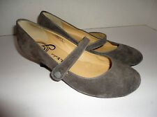 Gabriella Rocha Ginger Gray Suede Leather Button Slip On Size 6