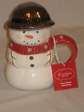 "St. Nicholas Square ""Warm Wishes"" Pattern Snowman Mug With Lid"