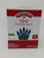 Holiday Time 100ct Blue Mini Christmas Lights, Green Wire, 23ft Long