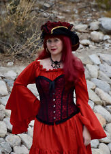Renaissance Fantasy Medieval Red Chemise Long Sleeve Costume Gown Sz S M Pirate