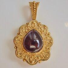 Stunning Victorian Gold Filigree Foiled Cabochon set Garnet Pendant c1850