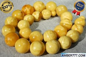 BALTIC ROYAL MARBLE WHITE NATURAL AMBER COLLECTIBLE NECKLACE 255 G
