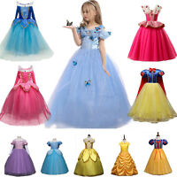 Kids Girls Aurora Frozen Anna Elsa Princess Party Fancy Dress Up Cosplay Costume