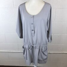 Ellen Tracy Tunic Blouse Front Pockets Adjustable Drawstring XL Gray