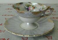 Vintage Tea Cup Lusterware Fruit & Gold Trim Pedestal Japan