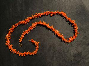 Ast-Korallenkette rot Nachkriegszeit Halskette Vintage 32gr Mit Verschluss