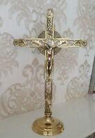 Standkreuz Groß Wandkreuz Jesus Corpus Herrgott Kruzifixe Antik Gold 58 cm Jesu