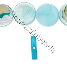 10 Flat 10mm Round Mother of Pearl Shell Coin Beads in Iridescent MOP Colors