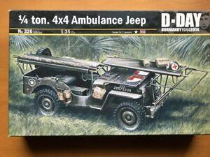 ITALERI 1/35 Qtr ton 4x4 Ambulance Jeep D-DAY NORMANDY1944 plastic model kit 326