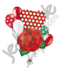 7 pc Red Carnation Balloon Bouquet Flower Polka Dots Garden Party Love BBQ