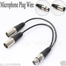 1 ft New 3pin XLR FEMALE Jack to Dual 2 MALE Plug Y SPLITTER Cable Adaptor Cord