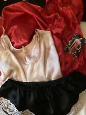 Silk Satin Soft Long Red Nightdress Pink Cami Top And French Knicker Medium
