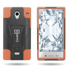 For Sharp AQUOS Crystal Case Hard Silicone Hybrid Stand Cover Neon Orange