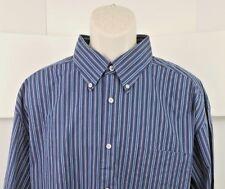 Talbots Mens Long Sleeve Dress Shirt XL Striped Button Down Collar 100% Cotton