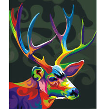 Paint By Number Kit DIY Acrylic Oil Painting On Canvas Colorful Deer Home Decor