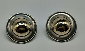 RETIRED James Avery Sterling Silver 14k Yellow Gold Hammered Round Earrings