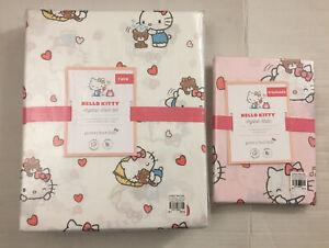 NWT Pottery Barn Kids Hello Kitty ❤️ Twin Sheets set & Sham Cover Lot