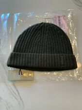 New Authentic Burberry Cashmere Men Knit Beanie Hat  Logo One Size Olive $390