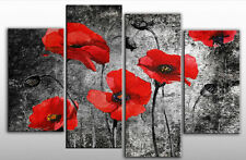 Extra Large Red Poppies on Black Canvas Artwork Picture 4 panels ready to hang