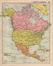 1952 MAP ~ NORTH AMERICA~ CANADA UNITED STATES MEXICO ~ CUBA WEST INDIES