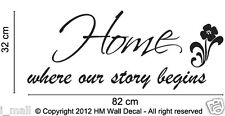 """"""" Home where our story begins """"-Home quote wall decal"""