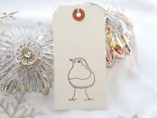 10 White Christmas ROBIN   Christmas Gift Tags Handmade