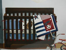 Tiddliwinks All Star Collection 3 Pc Crib Set Comforter Bumper Fitted Sheet Nwt