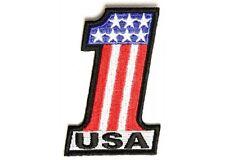 "(G) USA #1 AMERICAN FLAG 2"" x 3"" iron on patch (2871) Biker Vest Cap"