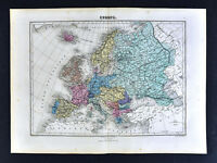 1877 Migeon Map - Europe - Spain France Russia Germany Britain Italy - Railroads