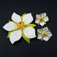 Sarah Coventry Polynesian Brooch Earrings Set Large 3D Magnolia Enamel Clip 1967