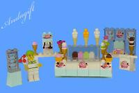 LEGO food ice cream parlour shop ice cream cake with minifigure sign NEW custom