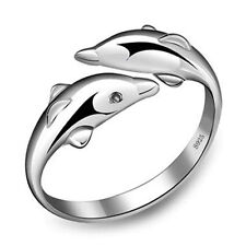 Double happiness in love dolphins Ms. ring ring opening S925 Silver Ring rhodium
