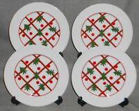 Set (4) BIA Christmas - Holiday CHRISTMAS TREE PATTERN  Salad Plates RED - GREEN