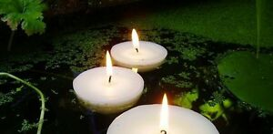 10 BIG 8cm Large Floating White Wax Candle 6 burn hour wedding party bowl pool