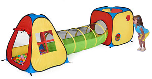 UTEX 3 in 1 Pop Up Play Tent with Tunnel Set Kids, Boys, Girls, Babies