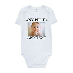 Personalised Photo Baby Grow Vest Bodysuit Girl Or Boy Custom Baby Shower Gift