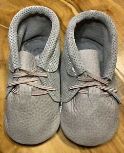 Freshly Picked Moccasin Shoes Toddler Kids Size 4 Gray Booties Soft Leather New