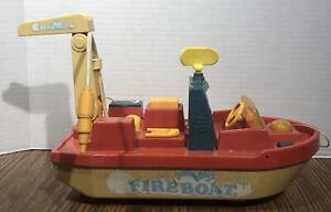 Vintage Ideal Plastic Fire Boat Fireboat w/ Hose Rare Vtg Toy Boat