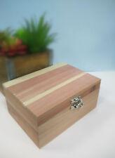 """NEW Cedar Wood Jewelry Treasure Trinket Box 7.1 """" x 5.2″ x 3.4″"""
