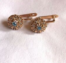 Russian Vintage Rose Gold Earring Sapphire and CZ Stones 14k 583 USSR