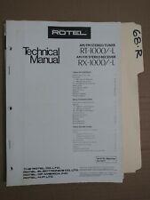 Rotel RX RT-1000 L technical service manual original repair book stereo tuner
