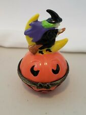 Witch Riding broomstick over moon pumpkin Hinged Porcelain Trinket Box Halloween