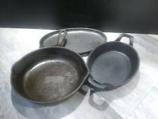 Lot Of 3 Assorted Cast Iron Pans, Skillets, Oval Casserole