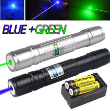Military Blue+Green Laser Pointer Pen 20Miles 532nm 1mW Beam Light Lazer+Charger