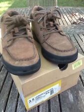 TIMBERLAND Trekker Brown Leather Boots Moc Toe Shoe YOUTH BIG KID size 3.5 EUC