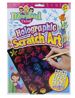 SCRATCH ART SHEETS SET MERMAID HOLOGRAPHIC STENCIL KIDS CRAFT ART GIFT NEW