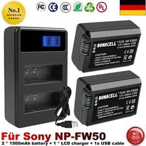 2X NP-FW50 Akku +LCD Dual Ladegerät für Sony Alpha A7 6000 6500 Batterie Kamera