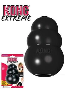 KONG Extreme Black Rubber Treat Dispenser Dog Chew Toy Tough Dogs Toys All Sizes