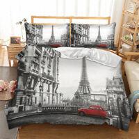 Milsleep 2021 Bed Bedding Set 3D Pairs Eiffer Tower Print Duvet Cover Set