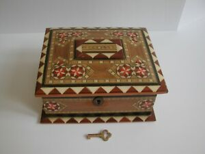 Vintage Spanish Inlaid Marquetry Trinket Box Chest with Key - Spain